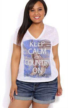 Deb Shops Plus Size Tee with Glitter Keep Calm and Country On Screen