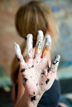 hand, paint, artist