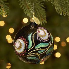 European Glass  Peacock Ball Ornament