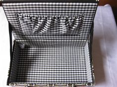 Black & White Checked Lining for Cigar Box Purse
