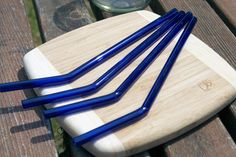 Eco-Glass Straws - Set of 4 Cobalt Blue Bended Reusable Straws- Lifetime Guarantee - Pretty and Eco Friendly. $29.00, via Etsy.