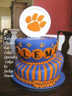 clemson tiger, cakes, food, clemson fan, clemson cake, topsyturvi cake, groom cake, parti