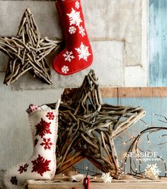 Driftwood star. Natural driftwood collected from the shore is arranged by hand to create our Christmas stars.
