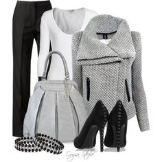 accent: black, grey, pumps, bell bottoms #fall #professional #work #casual #outfits