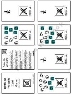 Batter Up! Fraction Card Game (like Go Fish)