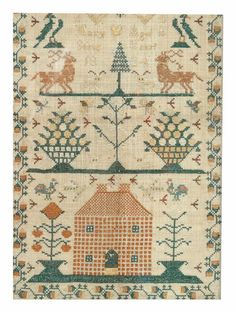 Excellent 1834 silk on linen Pennsylvania house sampler, signed by Mary Stote
