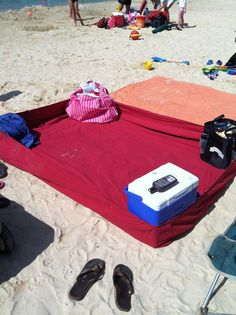 Picture only... Fitted sheet held in place with your beach bags... King size one would be perfect for everyone!