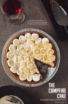 chocol ganach, cakes, food, smore cake, campfire cake, campfir cake, roasting marshmallows, campfir pie, dessert