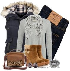 Casual Winter Outfit With Blue Vest