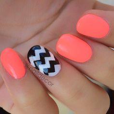 Neon Orange & Black & White Chevron Nails