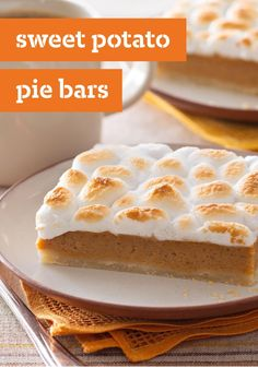 Sweet Potato Pie Bars -- These dessert bars are made with a scrumptious cream-cheese crust. The family may never want plain ol' sweet potato pie again!