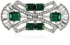 "Ben-Amun Jewelry ""Emerald Deco"" Crystal Brooch"