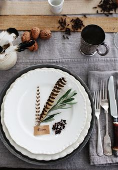 table settings, inspiration, place cards, plate, dinner parti, thanksgiving table, places, feathers, tabl set