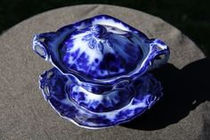 Flow Blue Antique Sauce Tureen w Underplate Scinde Pattern by J G Alcock C1840 | eBay
