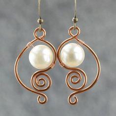 handmade earring ideas, copper wire, pearl dangl, earrings handmade, wire earrings, dangl earring, pearl earrings, wire jewelry designs, dangle earrings
