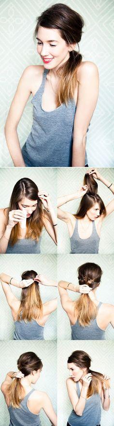 Messy side ponytail
