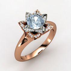 The Lotus Ring #customizable #jewelry #aquamarine #diamond #gold #rosegold #ring