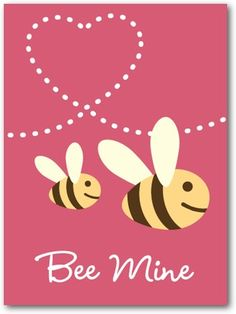 buzzing bees - Would make a cute Valentine canvas
