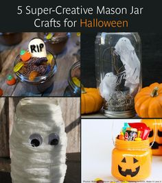 5 Super-Creative Mason Jar Crafts for Halloween. These are adorable, inexpensive, and actually easy!