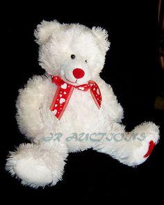 DAN DEE Collectors Choice White PLUSH BEAR Red Hearts