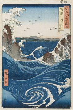Ando Hiroshige, Rough Sea at Naruto in Awa Province, 1855
