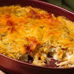 Chilaquiles is a simple Mexican casserole normally using deep-fried tortilla strips. No hot oil here, broken taco shells add just the right crispiness to this cheesy chicken dish with green chiles.