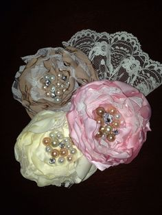 Fabric flower corsage for wedding shower