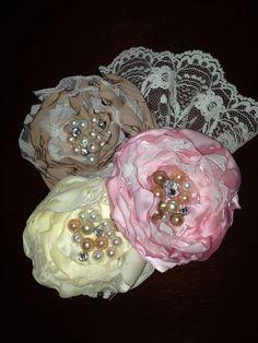 Fabric flower corsage for wedding shower hair flower, fabric flowers, weddings, wedding showers, flower corsag, shower idea