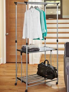 Foldable Rolling Clothes Rack - perfect for an instant guest closet or laundry rack. Just fold it away when you're done!