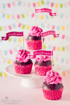 Free Printable Happy Birthday Cupcake Flag Toppers