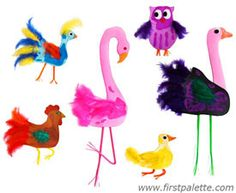 Make Feathered friends with paper, feather and drinking straws.