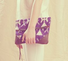 fabric & leather clutch.