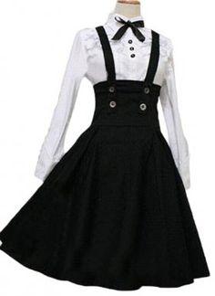 Black and White Cotton Lolita Dress for Sale