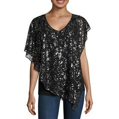 This would be perfect with black pants. #sponsored jcpenney.com | Alyx Short Sleeve Scoop Neck Chiffon Blouse