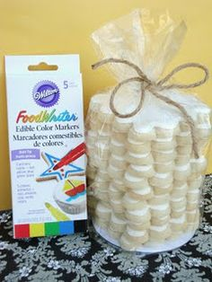 Cookie Canvas & edible markers: fun activity for an art or rainbow party (kids can draw on/decorate their own cookie)