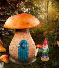 Mini mushroom fairy outhouse in the fairy garden.