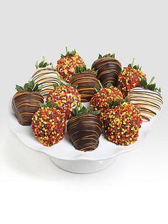 Autumn decorated strawberries, delicious!