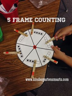 Math center, 5 frame (with fine motor practice)