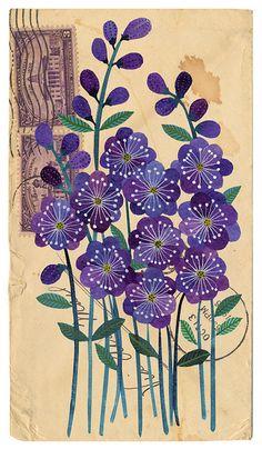 VioletsWatercolor on paper.  Gennine