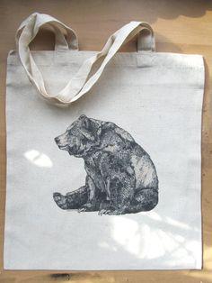 Bear Cotton Tote Bag