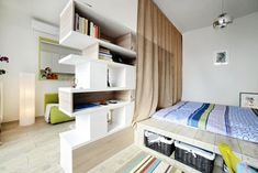 Bookcase and curtain dividing wall