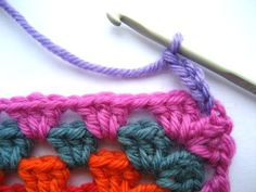 Crocheted edge for granny square blanket