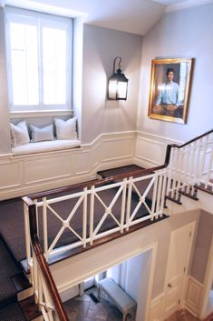 Railing, wainscoting, window seat stair rail, stair landing, benches, stairway, bay windows, wall sconces, sitting rooms, banisters, window seats