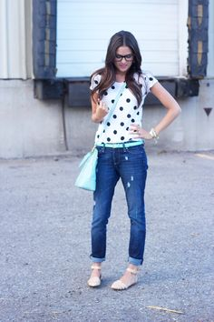 Top: Madewell | Pants: Paige| Belt: J.Crew | Bag: Tory Burch | Shoes: Zara | Glasses: Ray Ban | Watch: Skagen | Bracelets: C.Wonder, J.Crew, c/o StellaandDot | Rings: c/o StellaandDot | Lips: YSL Sheer Candy #9