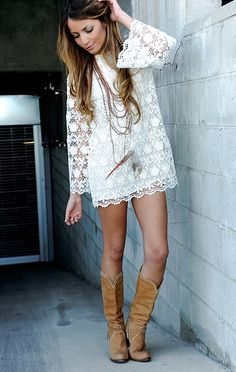 Lace dress and cowboy boots.
