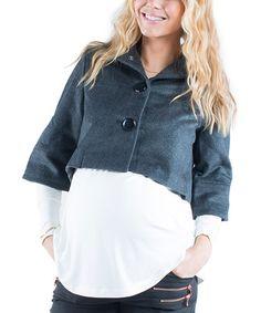 Dark Gray Vanity Cashmere-Blend Crop Coat