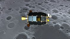 Artist's concept of NASA's Lunar Atmosphere and Dust Environment Explorer (LADEE). It's shown orbiting near the surface of the moon.
