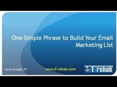 Before sending out your awesome video newsletter to your patients, you got to build your email marketing list. David tells you how in this video. Want to learn more about email marketing? Visit http://e-rehab.com/newsletter-samples/
