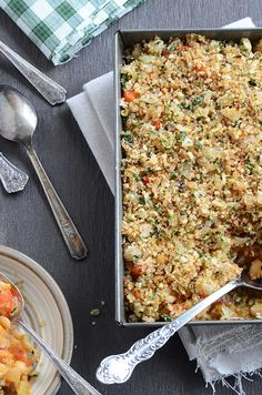 White Bean Casserole w Crunchy Onion Topping
