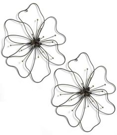 Adorn your garden, kitchen, or office wall with our open-design Set of Two Small Poppy Flower Metal Art.